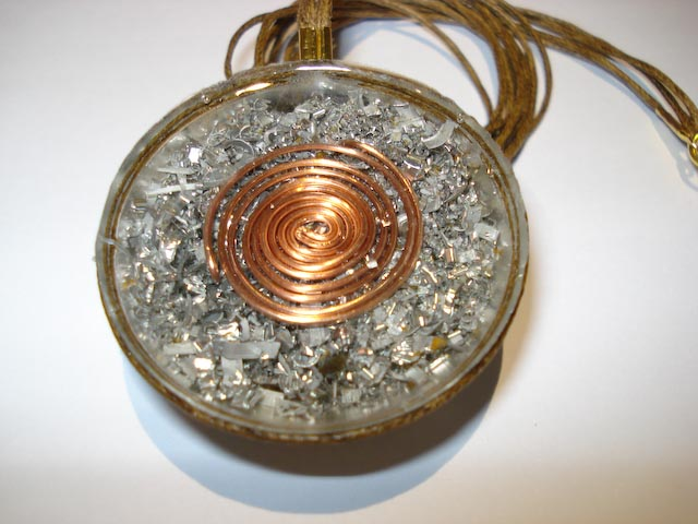 Orgonitesfo pendants spiral and copper balls orgone pendant containing aluminum white quartz amethyst garnet peridot lapis hematite and black tourmaline mozeypictures Choice Image